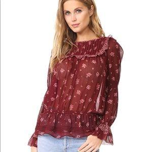 JOIE Adreielle Embroidered Silk Top